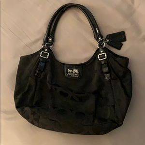 Coach Shoulder Bag Black C Silver Hardware
